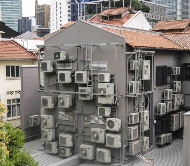 House with lots of air conditioners, Singapore