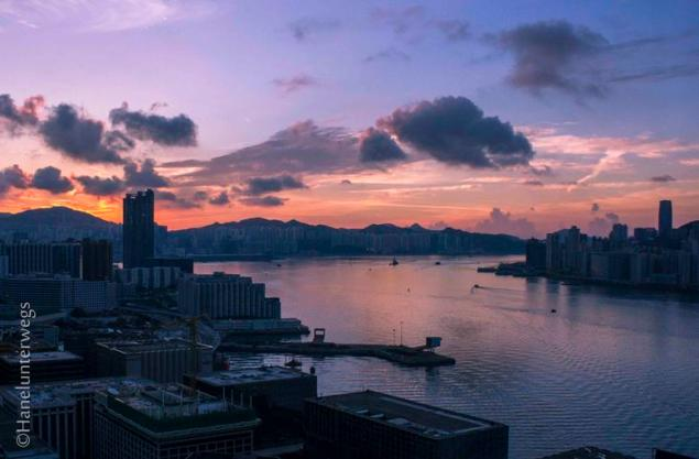 Sunrise over Victoria Harbour at the blue hour